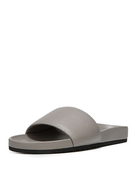 Vince Gavin Leather Pool Slide, Light Gray
