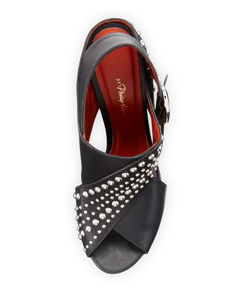 Patsy Studded Leather Crisscross Sandal, Black