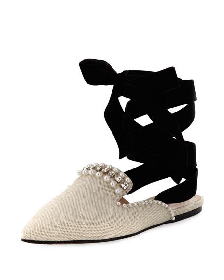 Elena Beaded Canvas Ankle-Wrap Flat, Neutral
