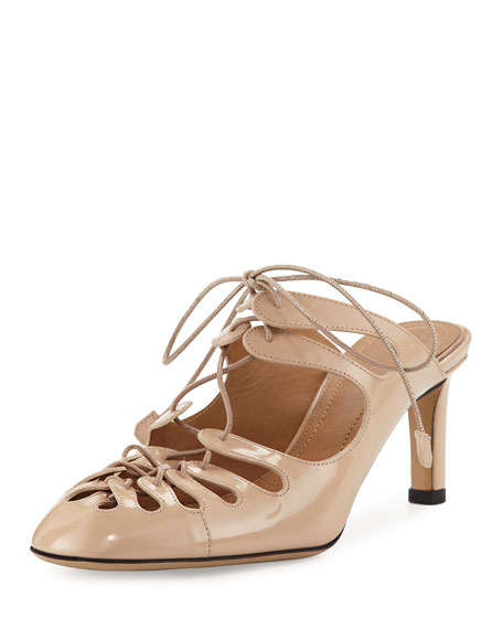 THE ROW Dixie Patent Lace-Up Mule, Beige