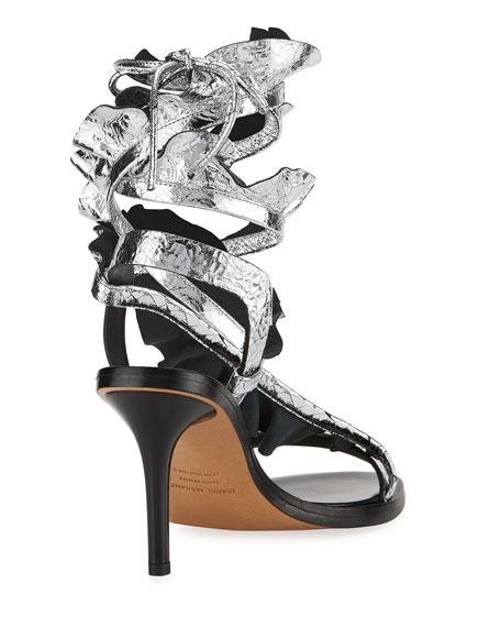 Ansel Ruffled Ankle-Wrap Sandal, Silver