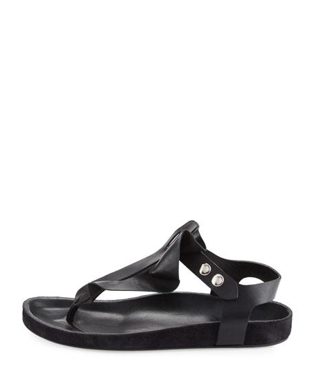 Leakey Flat Leather Thong Sandal, Black