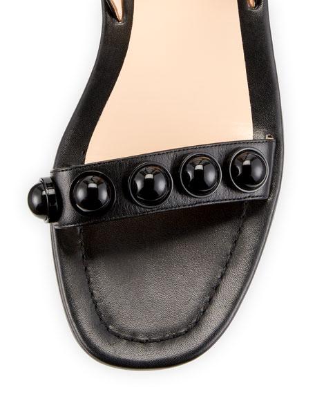 Leather Dome-Studded Sandal, Black