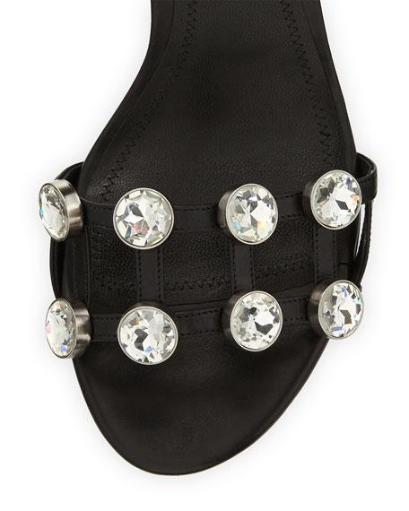 Abby Dome-Studded Tilt-Heel City Sandal, Black