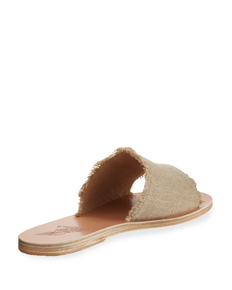 Taygete Burlap Sandal Slide, Neutral