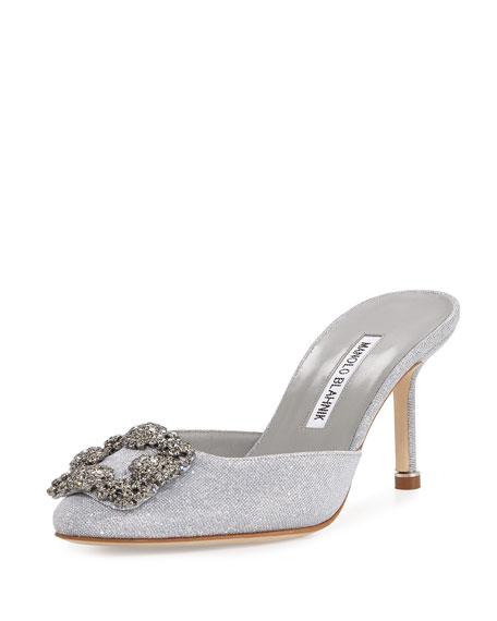 Hangisi Glittered Mule Pump, Silver