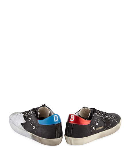 Metallic Star Low-Top Sneaker, Black