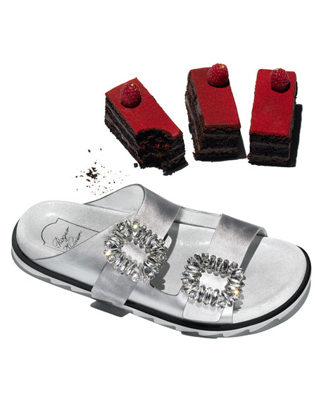 Strass-Buckle Two-Band Slide Sandal, Silver
