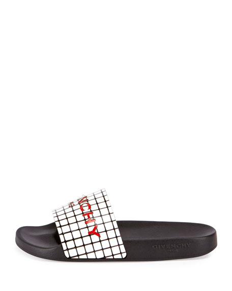 Printed Rubber Logo Sandal Slide, Black