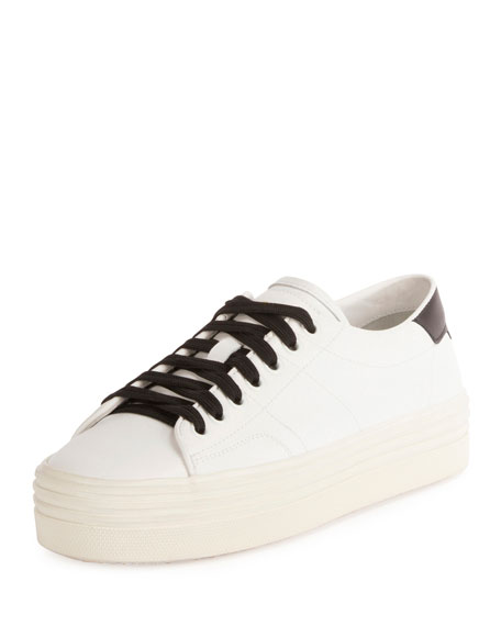 Saint Laurent Court Classic Low-Top Platform Sneaker, White