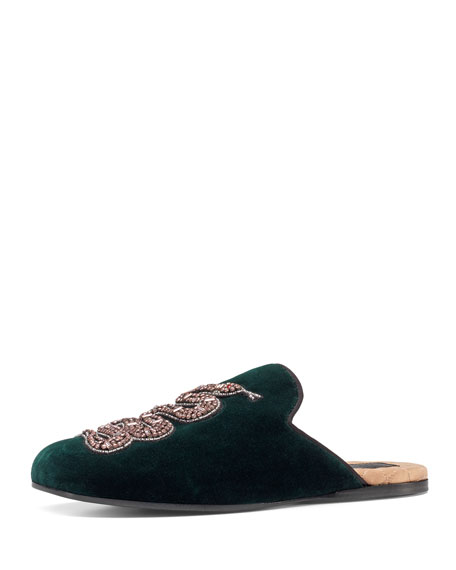 Gucci Lawrence Crystal Snake Mule, Emerald