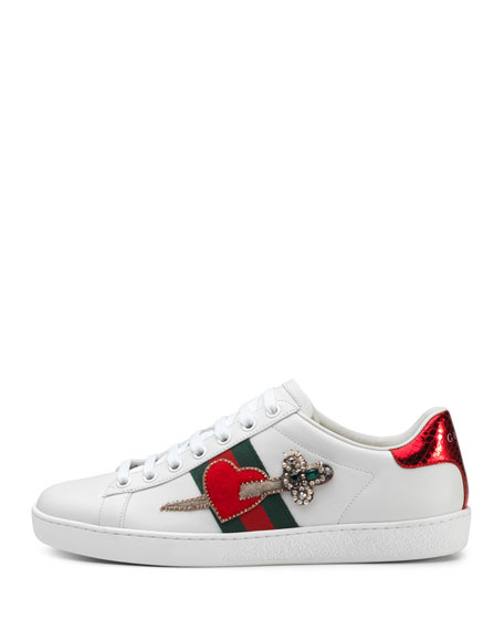 New Ace Pierced Heart Sneakers, White
