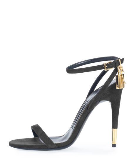 Suede Ankle-Lock 105mm Sandal, Black