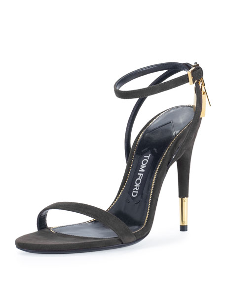 Suede Ankle-Lock 105mm Sandal, Black