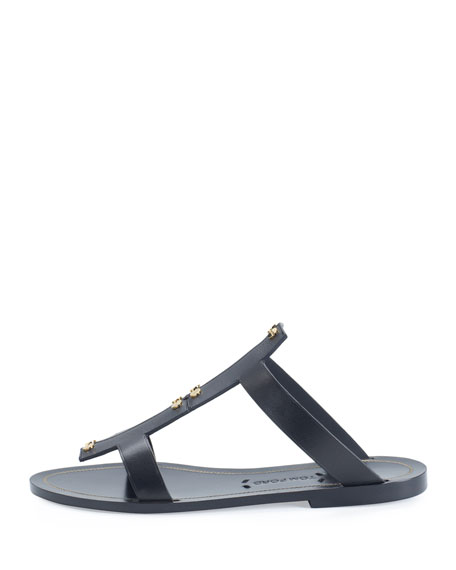 Studded Leather Flat Sandal