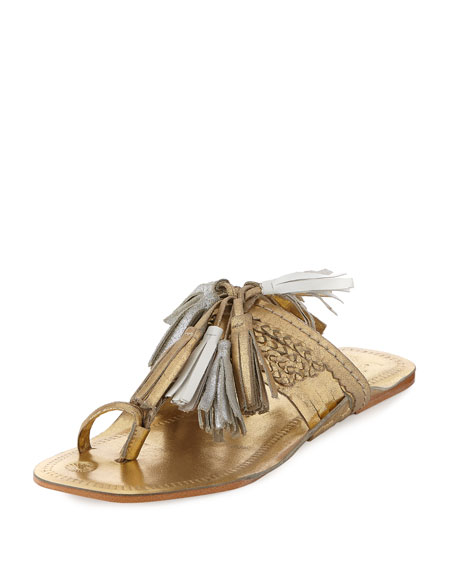Scaramouche Leather Tassel Sandal, Gold
