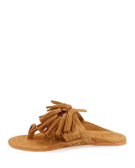 Scaramouche Suede Tassel Thong Sandals, Brown