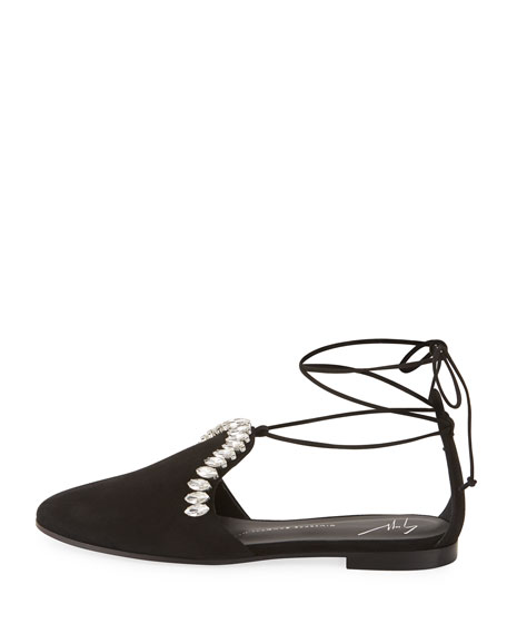 Jeweled Ankle-Tie d'Orsay Flat, Black
