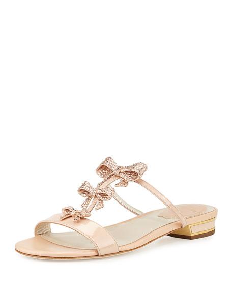 Bow-Embellished T-Strap Slide Sandal, Nude