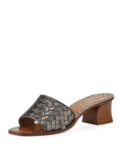 Intrecciato Metallic Leather 40mm Slide Sandals