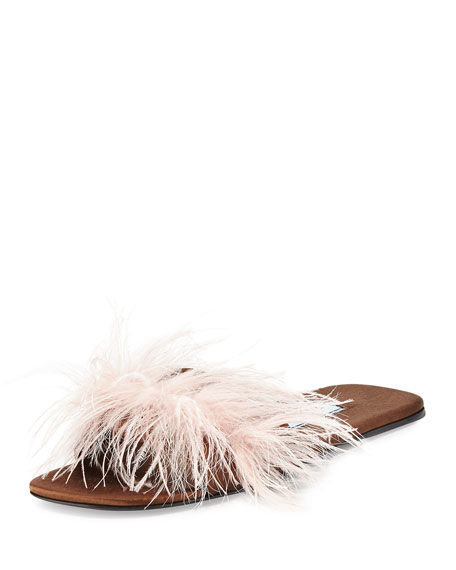 3206052af2297 Brown Flat Mule Sandals - prada feather embellished flat mule sandal brown  pink