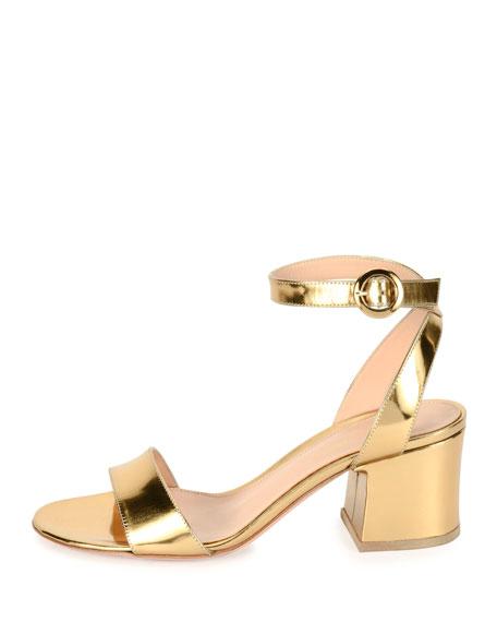 Metallic Ankle-Strap City Sandal