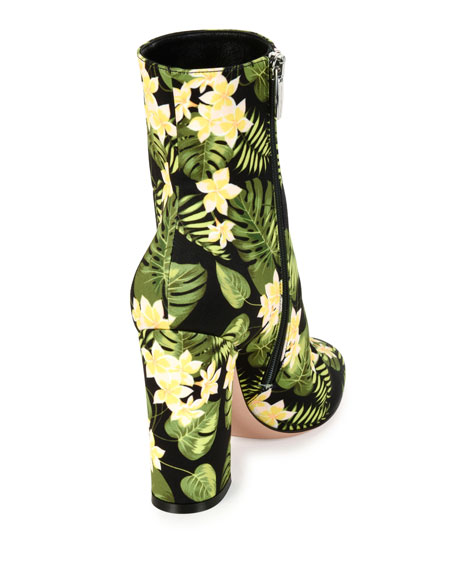 Floral-Print Block-Heel Boot, Yellow