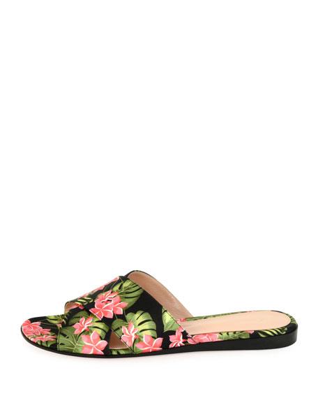 Floral-Print Fabric Sandal Slide