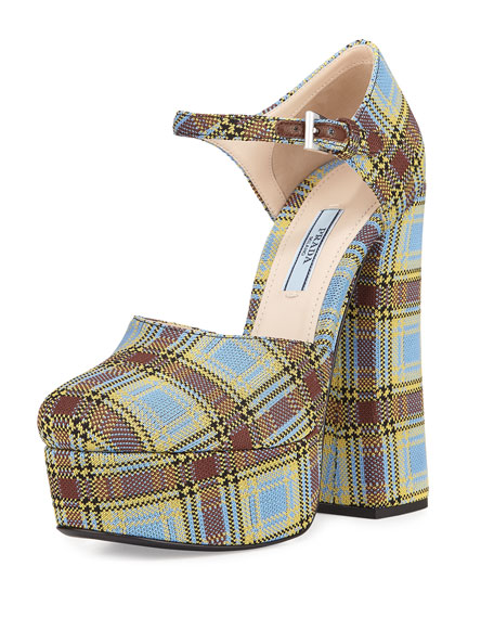 Tartan Jacquard 145mm Ankle-Strap Mary Jane Pump, Green