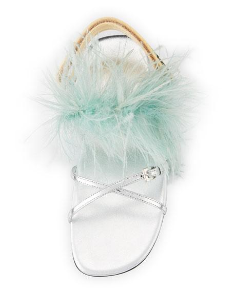 Feather-Embellished Crisscross Flat Sandal, Green/Silver