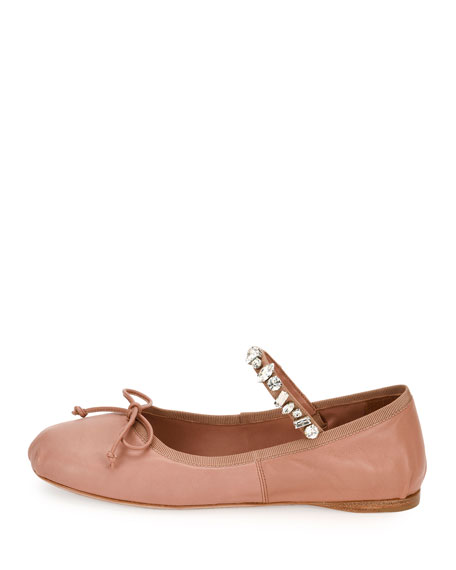 Jeweled-Strap Leather Ballerina Flat, Flesh