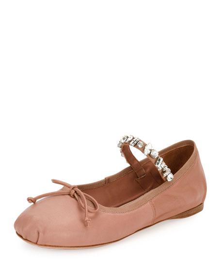 Jeweled-Strap Leather Ballerina Flat, Flesh