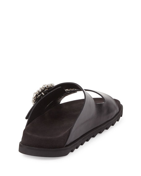 Strass-Buckle Two-Band Slide Sandal, Black