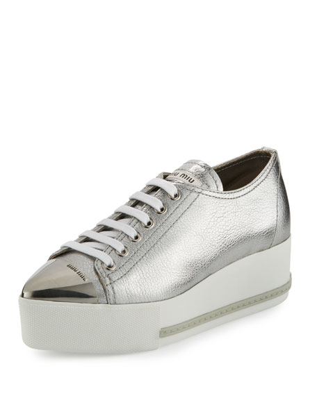 a1e2424d19e Miu Miu Metallic Leather Cap-Toe Sneaker