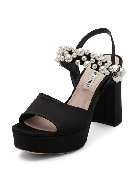 Beaded Suede Block-Heel Sandal, Black