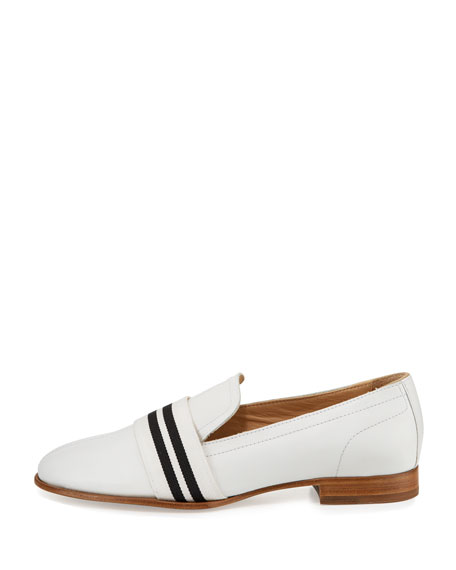 Amber Striped-Web Leather Loafer, White