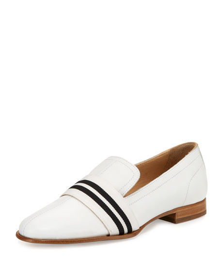 Rag & Bone Amber Striped-Web Leather Loafer, White