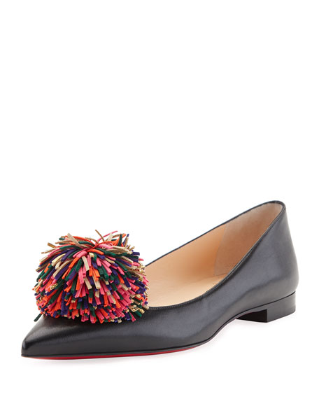 Konstantina Napa Pompom Red Sole Flat, Black