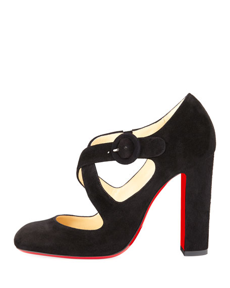 Miss Ellen Suede Crisscross Red Sole Pump, Black