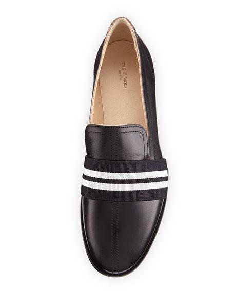 Amber Striped-Web Leather Loafer, Black