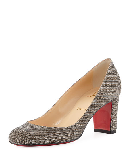 Christian Louboutin Cadrilla Glitter Block-Heel Red Sole Pump