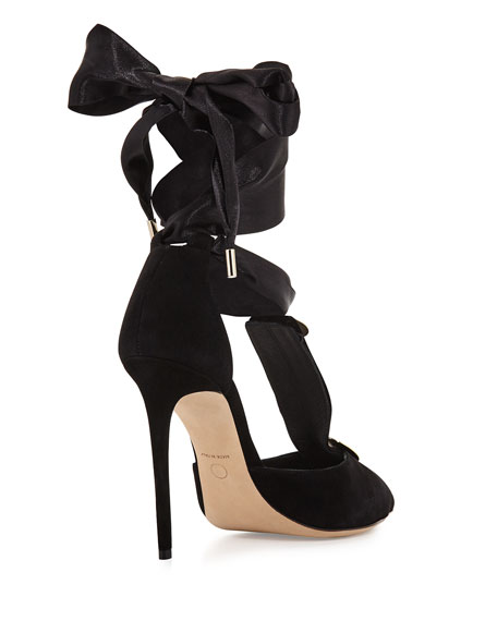 L'Amiral Suede Ankle-Tie Pumps, Black