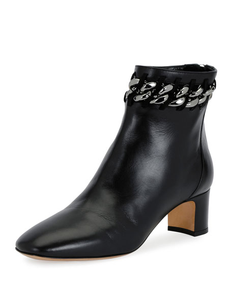 Valentino Chain-Trim Leather Bootie, Black
