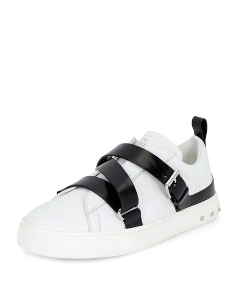 Valentino Rockstud Strappy Leather Sneaker, White/Black