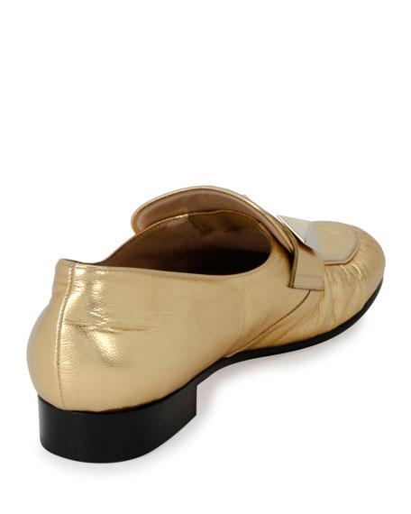 Rockstud Metallic Leather Loafer, Gold