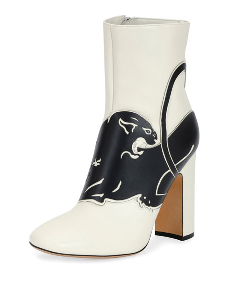 Panther Leather 90mm Bootie, White