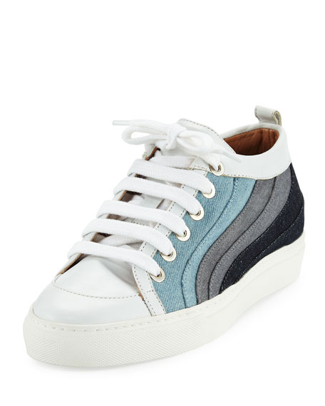 Laurence Dacade Kool Patchwork Denim Low-Top Sneakers, Multicolor