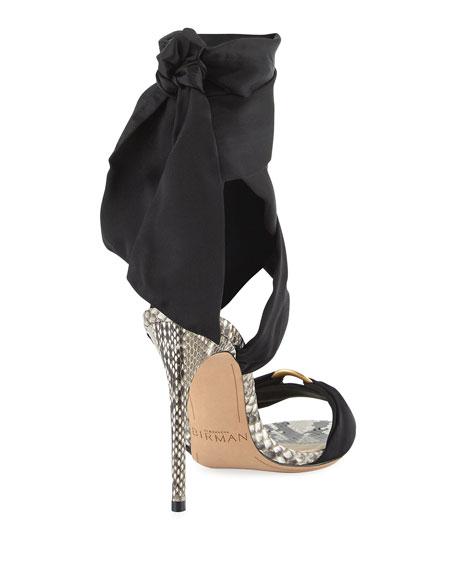 Branca Silk & Python Ankle-Wrap Sandal, Black