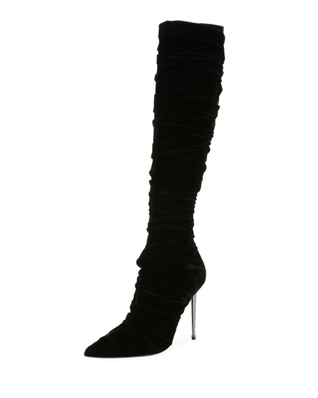 Pleated Velvet Knee Boot, Black