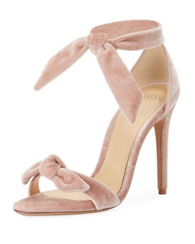 Clarita Velvet Ankle-Tie 100mm Sandal, Light Pink